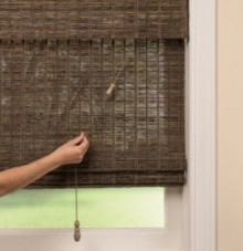 standard control on woven wood shade